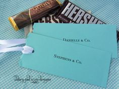 Tiffany Blue Party Favors. Candy bar sliders!!! 1 8 1/2 x 11 per favor fyi with a bit left over to use for something else.