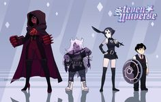 We~ A the NegaGems! I've had several requests to do dark versions of Crystal Gems. Black Garnet, Black Amethyst and Black Pearl… And Lucius And Steven (Dav-19)