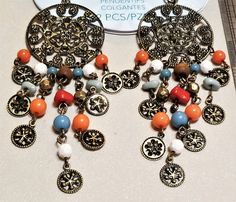 BF-307; Styled by Tori Spelling Earring or Necklace Drops with Multi Colored Beads Hanging From a Metallic Filigreed Disk $4.99 Upcycled Crafts, Craft Items, Spelling, Metallic, Beads, Bracelets, Creative, Earrings, Color