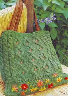 """Knitted bag """"Spring"""" with pattern in Russian."""