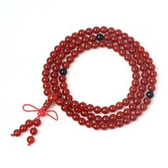 O-stone Brazil Red Agate Necklace with 108 Prayer Beads 5-6mm Meditation Mala Bracelet Grounding Stone Protection Tibet Style -- Find out more about the great product at the image link.