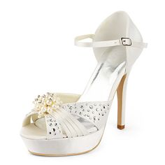 Satin Stiletto Heel Platform / Pumps With Rhinestone Wedding Shoes (More Colors Available) - USD $ 99.99