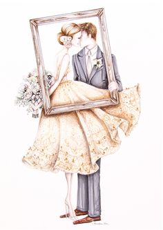 The Kiss pencil illustration- Capturing moments from your wedding day in illustrated fashion caricature style