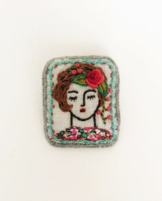 Sleeping girl embroidered brooch by creamente