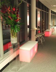 Hotel Verta London - Bespoke cocktail table to fit venue's column, cocktail stools and illuminated bench seat by www.stressfreehire.com #venuetransformers
