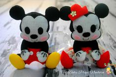 Mickey e Minie, Cute, personagens da disney de feltro, feltro, felt, newborn, mini personagens, amiguinhos, My Little Friend.
