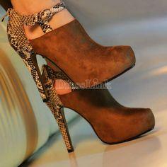Snakeskin Patchwork Square Thick High Heels Shoes Platform Pumps