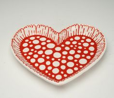 Bohemian Heart Shaped Dish Red and White Hand Painted Dinnerware by Owl Creek Ceramics