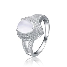 Collette Z Sterling Silver Opaque Cubic Zirconia Solitaire Ring