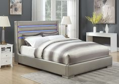 This unique, contemporary queen bed features built-in LED lighting for a fun and modern look. Chrome feet add to the modern feel of this fully upholstered, sleek bed. Upholstered Platform Bed, Upholstered Beds, Bed With Led Lights, Discount Furniture Stores, Leather Bed, Real Leather, California King Bedding, Grey Bedding, Luxury Bedding