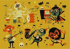 Ben Newman — Halloween Monster Band for Pocko Halloween Band, Theme Halloween, Vintage Halloween, Fall Halloween, Happy Halloween, Halloween Labels, Halloween Inspo, Halloween Witches, Halloween Photos