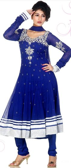 Royal Blue Readymade Net Churidar Kameez @ $232.23 | Shop @ http://www.utsavfashion.com/store/sarees-large.aspx?icode=kwm3262c