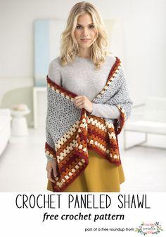 Crochet this easy paneled granny stitch shawl from my stylish crochet shawls free pattern roundup!