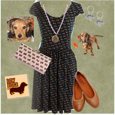 dachshund dress!!!!!!!!! by ererules on Polyvore featuring Gabby Skye, Ted Baker and Les Néréides