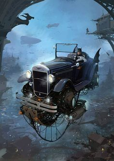 Turbo-Reactive Diesel-Punk: Flying Retro Cars By Alejandro Burdisio