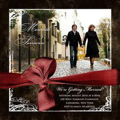 red & brown wedding theme. cute save the date