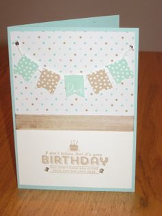Stampin' Up Sale-a-bration birthday card, banner blast and banner punch, See ya later