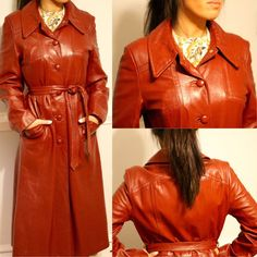 Gorgeous Leather Fashions New York Label 60s 70s 80s red maroon brown leather trench coat long jacket