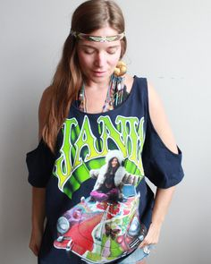 Janis Joplin VW Bus Hippie Boho Woodstock Eco Friendly Cut Out Off The Shoulder OOAK Upcycled Tshirt/Tee/Top/Shirt Womens One Size by MountainGirlClothing on Etsy
