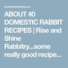 ABOUT 40 DOMESTIC RABBIT RECIPES | Rise and Shine Rabbitry...some really good recipes here Wild Game Recipes, Meat Recipes, Rabbit Recipes, Keep Recipe, Meat Rabbits, Dry Red Wine, Organic Meat, Good Food, Yummy Food
