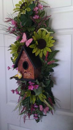 Bird House Floral Door/Wall Swag by KBWreaths on Etsy, $125.00