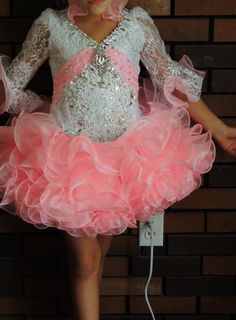 Don't know if I like the front but like back better Glitz Pageant Dress Sz 4 6SLIM7 Gorgeous Cotton Candy Pink White | eBay