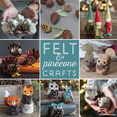Lovers of pinecone crafts can make an entire collection of pinecone animals and characters with these tutorials and printable templates from Lia Griffith.