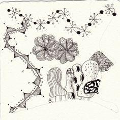 Ein Zentangle aus den Mustern Batter, Jax, Shrumes, The Fab gezeichnet von Ela Rieger, CZT