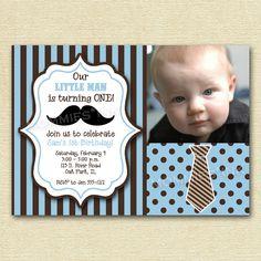 Moustache Mustache Little Man Birthday Party Invitation  - PRINTABLE INVITATION DESIGN. $12.00, via Etsy.
