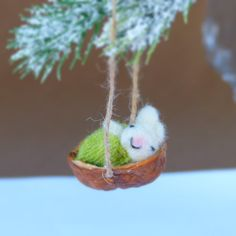 Needle Felted Sleeping Bunny Rabbit In A Walnut by CatsInPairs
