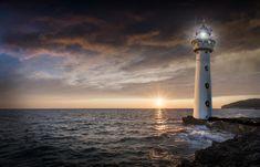 Free Image on Pixabay - Lighthouse, Glow, Evening, Sunset Public Domain, Framed Prints, Canvas Prints, Art Prints, Le Choc Des Titans, Psalm 27, Light Of Christ, Evening Sunset, Shine The Light