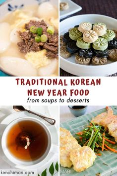 Korean New Year Food that is traditional and authentic! From 3 Tteok Guk recipes, fish jeons to Yaksik and Sujeonggwa, you can have the most wonderfully yummy holiday party with these. I hope you will try at least one! Korean Bbq Recipe, Korean Food, Kimchi, Kosher Recipes, Cooking Recipes, Korean Appetizers, Korean Traditional Food, Korean New Year, Easy Asian Recipes