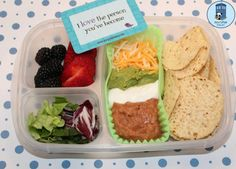 Bento for Kidlet: Deconstructed Taco Dip(Should be able to do deconstructed tacos like this. Don't have to use meat for tacos)