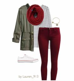 Our obsession with #military #green #jackets is no where close to be over .   #ootd by Lauren_913, from Pureple community! #Burgundy #jeans are a change from the #moss green & light wash #denim combo. And as always, a nice #Breton top and #white #Converse goes perfectly with pretty much everything ;)  #utility #stripes #sneakers #lotd #red #scarf #winter #bracelet #outfitoftheday #outfit #purepleapp #pureple #fashion #wear #wiwt #kombin #wardrobe #blogger #style
