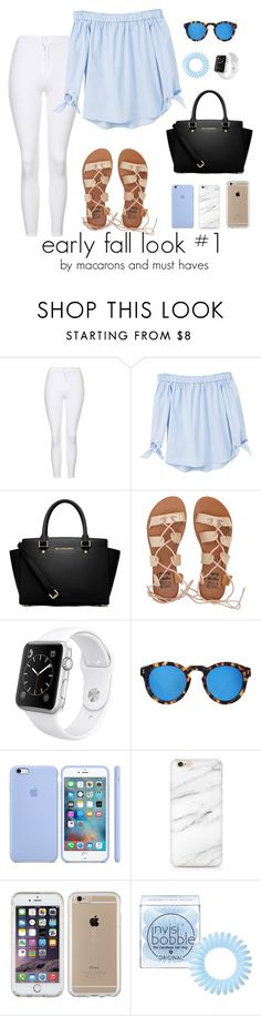"""early fall look #1"" by cchicgurl on Polyvore featuring Topshop, MANGO, MICHAEL Michael Kors, Billabong, Apple, Illesteva, Speck and Invisibobble"
