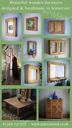 rustic natural wood furniture custom handmade in UK by MarcWoodJoinery Natural Wood Furniture, Wooden Furniture, Bathroom Furniture, Furniture Ideas, Framed Mirror Design, Framed Mirrors, Door Canopy, Wood Joinery, Garden Buildings