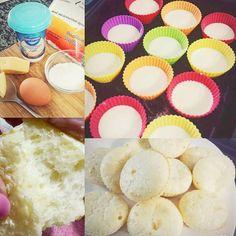 """Minha receita de pão de queijo de tapioca além de fácil é super rapida e """"light"""" Ai vai: 2 ovos 1 copo de tapioca (dessas prontas) 2col sopa de Queijo (mussarela ou parmesão/requeijão) Sal Mistura no liquidificador ou na mão e poe em forminhas de silicone nao precisa untar Zero oleo Uns 15 minutinhos no forno e tharam! Rende 12un.  #paodequeijo #tapiocas #receita #photooftheday #instadaily #instalike #foodie by karinafilipini http://ift.tt/1TQ5036"""
