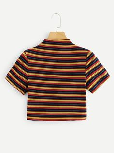 ROMWE offers Striped Ribbed Mock Neck Crop Tee & more to fit your fashionable needs. Teen Fashion Outfits, Trendy Outfits, Girl Fashion, Summer Outfits, Girl Outfits, Chic Fall Fashion, Emo Fashion, Fashion Styles, Fashion Trends