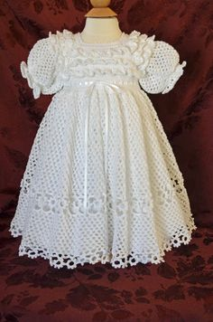 White Christening / Blessing Gown and Slip by CherryHillCrochetCrochet dress for baptismThis Pin was discovered by VivWhite Thread Crochet Baby Dress size 03 month by csabin on Etsy Crochet Baby Dress Pattern, Gown Pattern, Baby Girl Crochet, Crochet Baby Clothes, Baby Christening Dress, Baptism Gown, Blessing Dress, Angel Gowns, Baby Kind