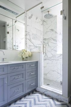 Cabinets are Benjamin Moore Dior Gray. Benjamin Cruz Designs love the chevron floor! Grey Bathrooms, Bathroom Renos, Beautiful Bathrooms, Small Bathroom, Master Bathroom, Luxury Bathrooms, Bathroom Bath, White Bathroom, Chevron Bathroom