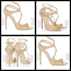 Jimmy Choo Lang Patent Leather Strappy Sandal Wore once for indoor photo shoot. Box included. Enjoy the leg lengthening effect of these nude patent strappy sandals. The delicate straps flatter the foot and give additional support. Use as a refined end note to bright prints and florals. Heel measures 115mm/4.5 Jimmy Choo Shoes