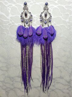 Long Purple Feather Earrings w Ornate findings, Charms - Black Stripes, Marabou Ostrich Pheasant Accents Resin Beads Brass Hoops Oriental by MEDICINAdesigns
