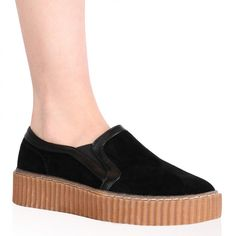 Celina Creepers in Black Faux Suede