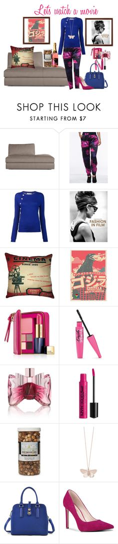 """Let's watch a movie!"" by artteca ❤ liked on Polyvore featuring Design Within Reach, Altuzarra, Chronicle Books, Estée Lauder, Viktor & Rolf, NYX, The Hampton Popcorn Company, Alex Monroe and Nine West"