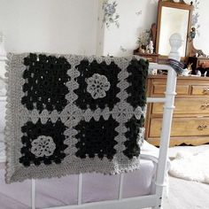 Crochet Afghan blanket granny squares in green and beige . £50.00