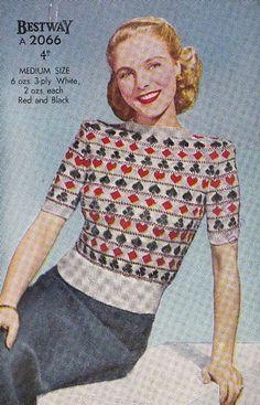 Playing card sweater knitting pattern, 1940s