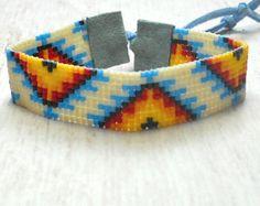 Tribal Seed Bead Bracelet Bead Loom Bracelet by SKBeadedJewelry
