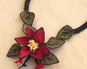 Items similar to Turkish OYA Lace - Silk Necklace  - Bellflower - Red on Etsy
