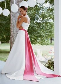Satin A-line Halter with Split Front Style T9218 David's Bridal Collection Love the sash...could sew this onto an empire waist and take it off again for rewearing