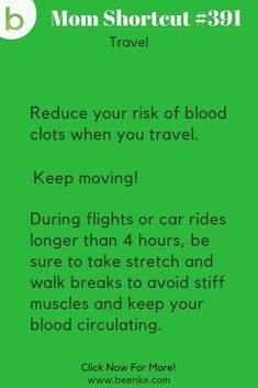 Travel Hacks Reduce your risk of blood clots on long trips by taking regular stretching and walking breaks! Check out our travel tips for packing, flying, road trips, kids, and more. CLICK NOW to discover more Mom Hacks. Simple Life Hacks, Useful Life Hacks, Survival Food, Survival Tips, Travel Hacks, Travel Tips, Packing Hacks, Travelling Tips, Vacation Savings